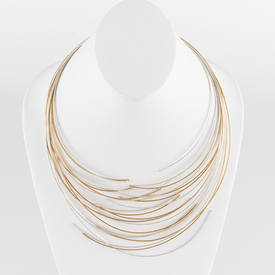 Twelve Line Silver and Gold Cable Necklace