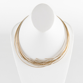 Twelve Line Silver and Gold Cable Necklace SILVER_GOLD