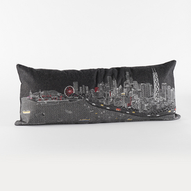 Chicago Skyline Pillow - Black