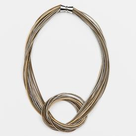 Multi-Tonal Knot Necklace SILVER_GOLD