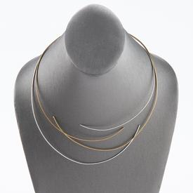 Two Line Silver and Gold Cable Necklace