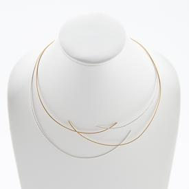 Two Line Silver and Gold Cable Necklace SILVER_GOLD_