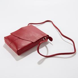 Red Leather Cross- Body Handbag