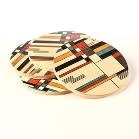 Bauhaus Wood Coasters Set