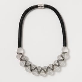 Frosted Stacked Beads Necklace BLACK_FROST