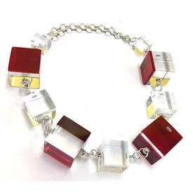 Alternating Cubes Necklace RED