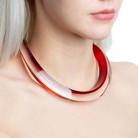Red and Clear Curved Choker