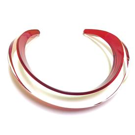 Red and Clear Curved Choker RED