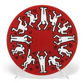 Keith Haring White on Red Plate