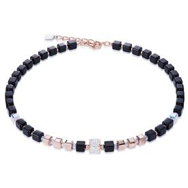 Pavé and Swarovski Crystals Hematite Necklace R.GOLD_BLACK