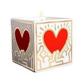 Haring Red Heart Gold Figures Candle
