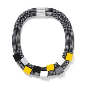 Double Rope Cubes Necklace - Black, Yellow, White