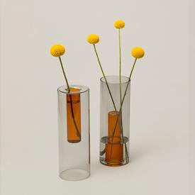 Reversible Glass Vase - Grey/Orange