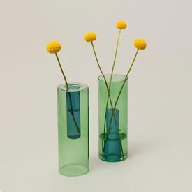 Reversible Glass Vase - Green/Blue