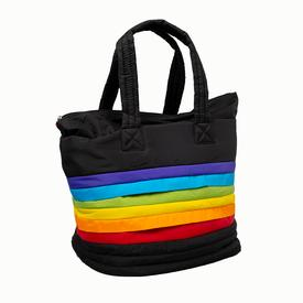 Large Rainbow Puffer Stripe Tote