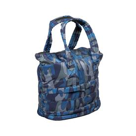 Small Camo Puffer Tote - Blue