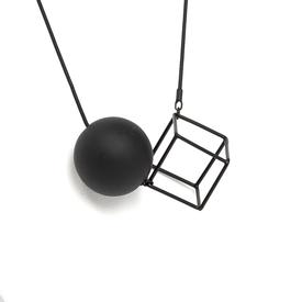 Cube and Orbs Necklace BLACK