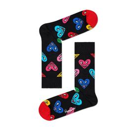 Keith Haring Heart Sock- Black-Multi