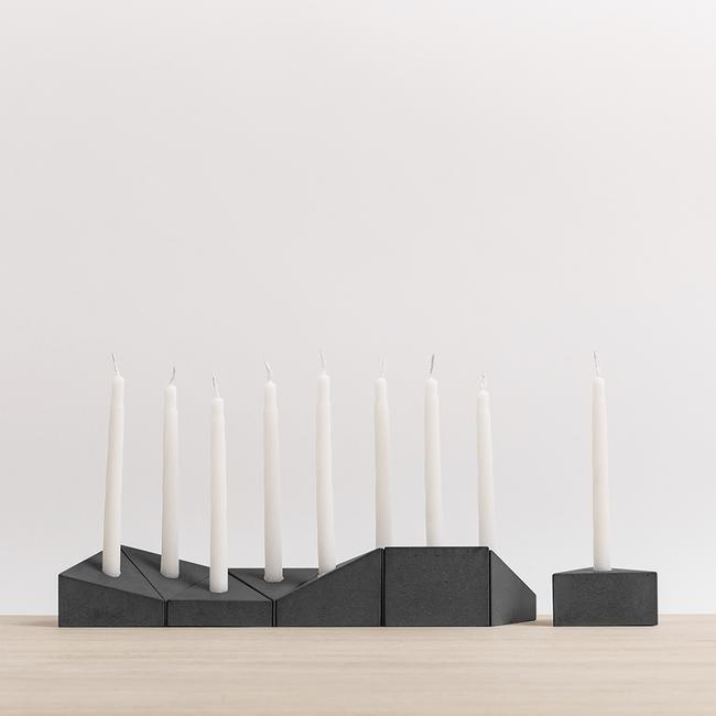 Concrete Menorah - Dark Grey