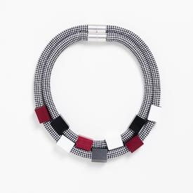 Double Rope Cubes Necklace - Black, Red, White