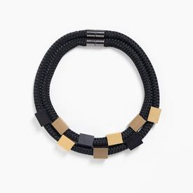 Double Rope Cubes Necklace - Black and Gold