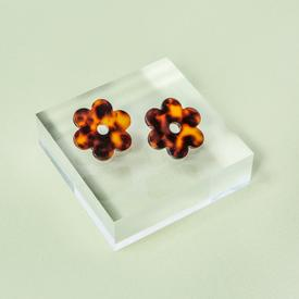 Daisy Earrings - Tortoise Shell