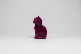 Kisa Burgundy Cat Skeletal Candle