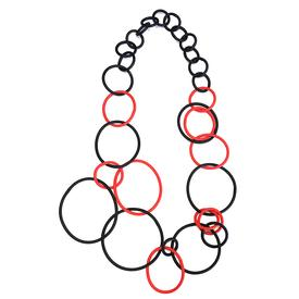 Long Black and Red Circles Necklace