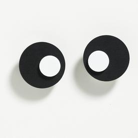 Takara Black Circle and White Dot Earrings