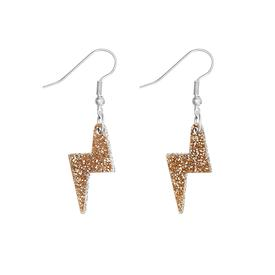 Lightning Bolt Charm Earrings - Gold Glitter