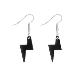 Lightning Bolt Charm Earrings - Black