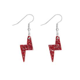 Lightning Bolt Charm Earrings - Red Glitter