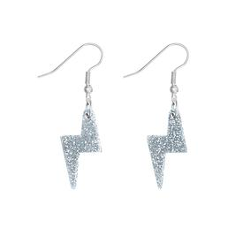 Lightning Bolt Charm Earrings - Silver Glitter