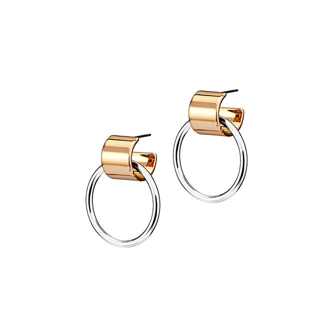Two Tone Knockers Earrings - Silver Gold