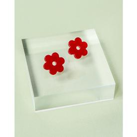 Small Acetate Daisy Earrings - Cherry