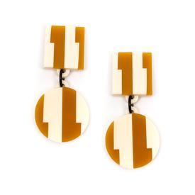 Aurora Dangle Stripe Earrings - Honey and White