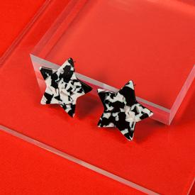 Star Earrings - Black and White
