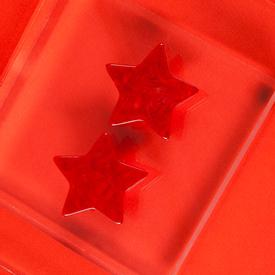 Acetate Star Earrings - Red