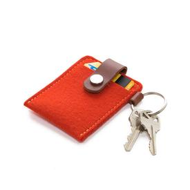 Felt Key Card Case - Orange