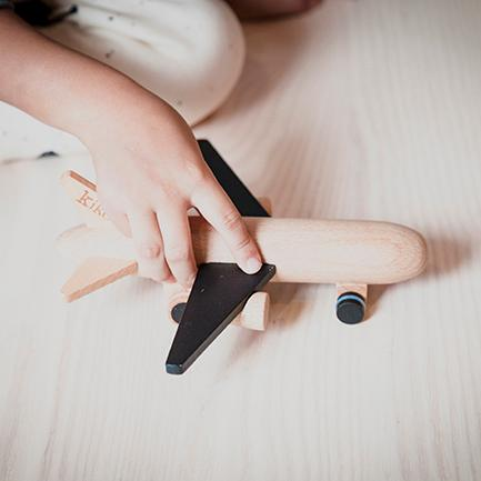 Wood Jet Plane Wind- Up Toy - Black