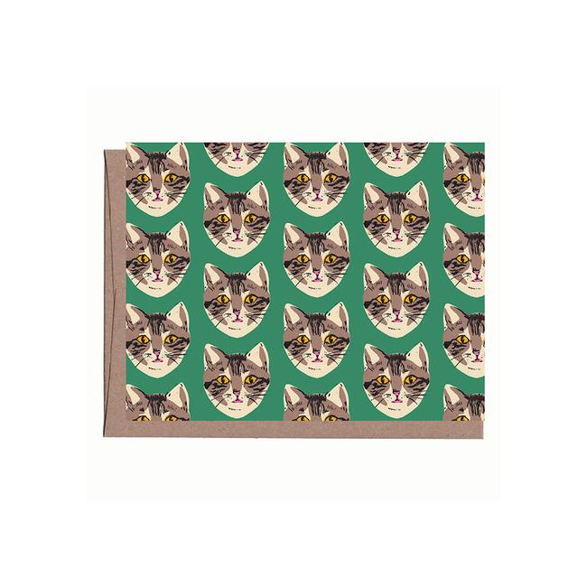 Green Cat Notecards Set
