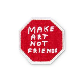 Make Art Not Friends Iron on Patch by David Shrigley RED