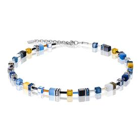 Geocube Swarovski Crystals Necklace - Blue Yellow