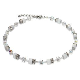 GeoCube Swarovski Crystals Frosted Necklace - White