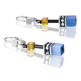 GeoCube Swarovski Earrings - Blue and Yellow