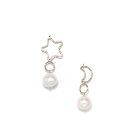 Pearl Moon and Star Earrings - Gold Filled