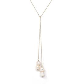 Pearl Lariat Necklace - Gold Filled