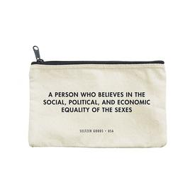 Feminist Zip Pouch WHITE_BLACK