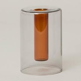 Mini Reversible Glass Vase - Grey/Orange