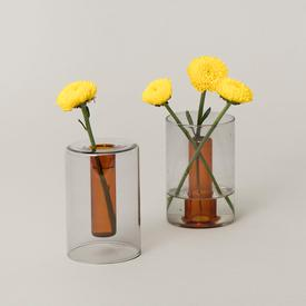 Mini Reversible Glass Vase - Grey/Orange GREY_ORANGE